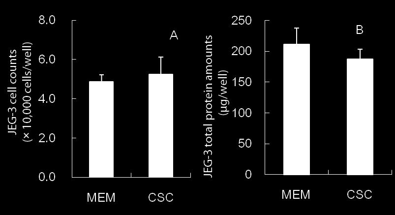 Fig. 7. Effects of culture conditions on growth (A) and total protein amounts (B) of JEG-3 cells.