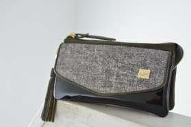 Black denim DENIM CLUTCH & SHOULDER PO-161DM