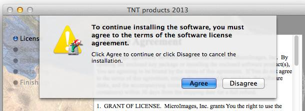License というタイトルのウィンドウが現れます 内容をよく読み [Continue] ボタンを押します To continue installing the software,you must agree to the terms of the software license agreement.
