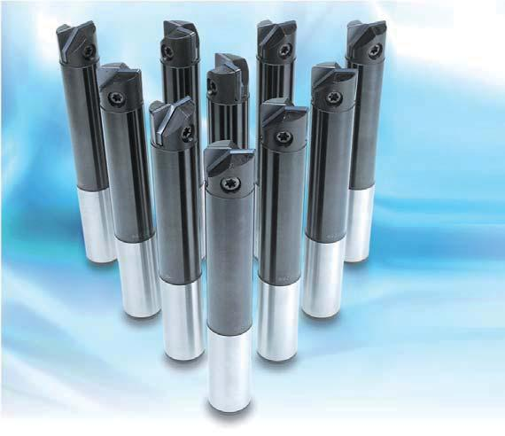 High precision indexable end mill with two effective cutting edges.