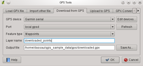 Figure 14.1: The GPS Tools dialog window.qgis GPX, GPX. GPX, http://www.topografix.com/gpx/1/1/ 14.1.3 GPSBabel Since QGIS uses GPX files you need a way to convert other GPS file formats to GPX.