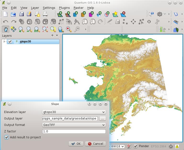 Figure 19.27: Raster Terrain Modelling Plugin (slope calculation) 19.16.1 1. Start QGIS and load the gtopo30 raster layer from the GRASS sample location. 2.