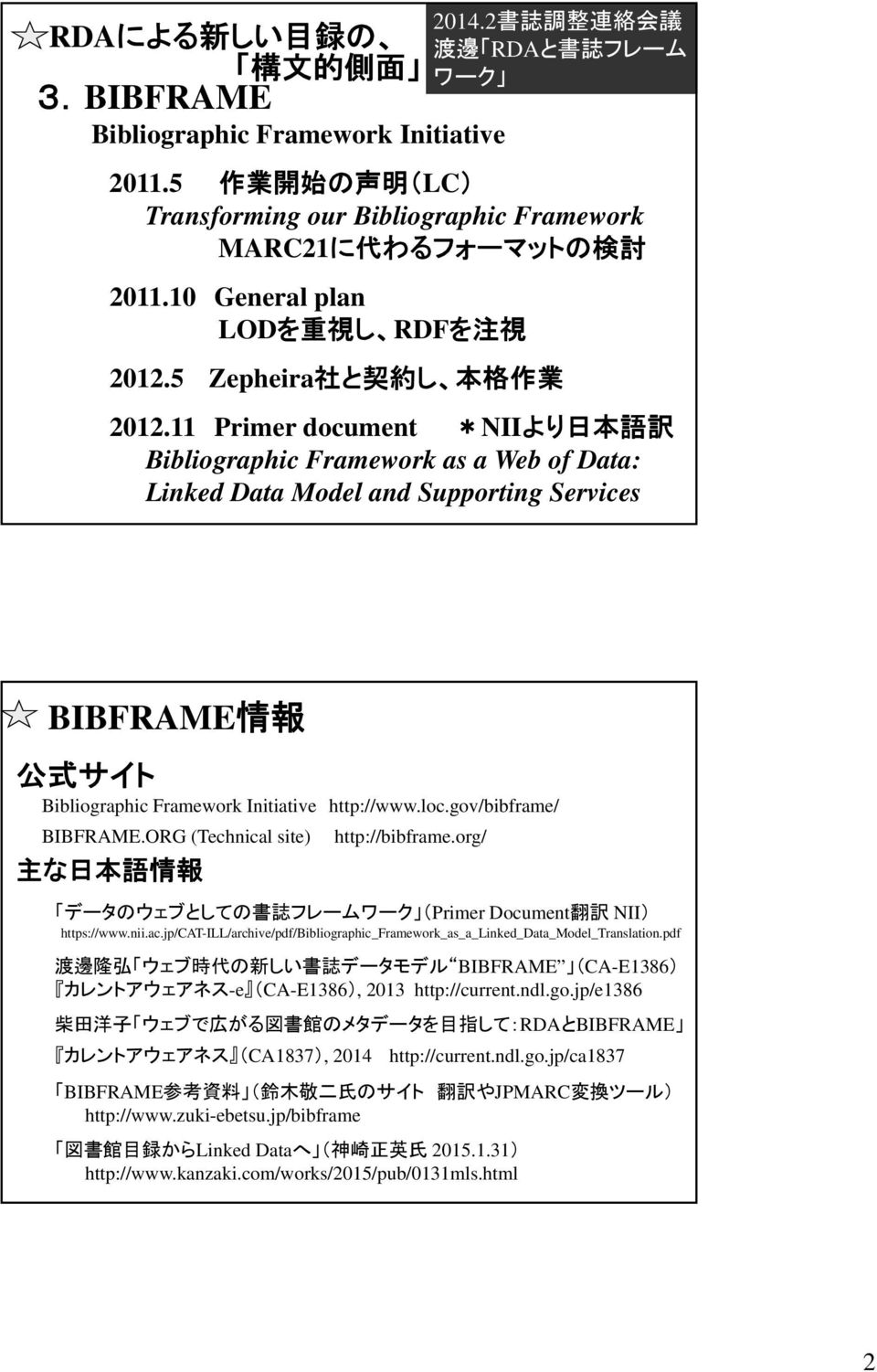 11 Primer document *NIIより 日 本 語 訳 Bibliographic Framework as a Web of Data: Linked Data Model and Supporting Services BIBFRAME 情 報 公 式 サイト Bibliographic Framework Initiative http://www.loc.