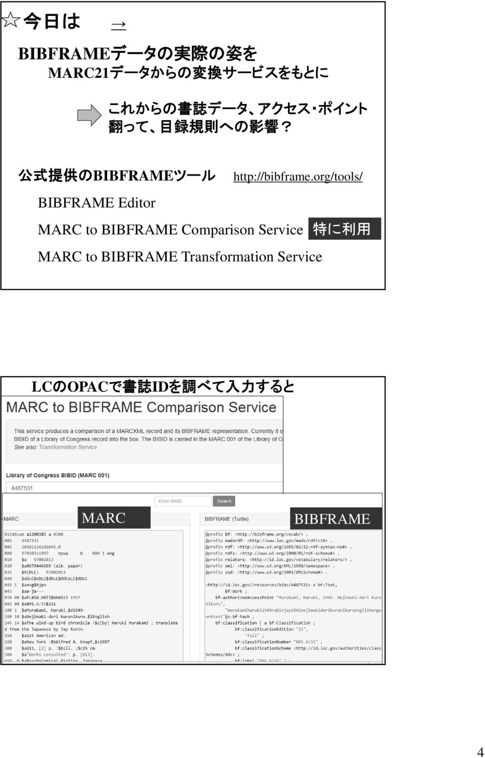 org/tools/ BIBFRAME Editor MARC to BIBFRAME Comparison Service 特 に 利 用