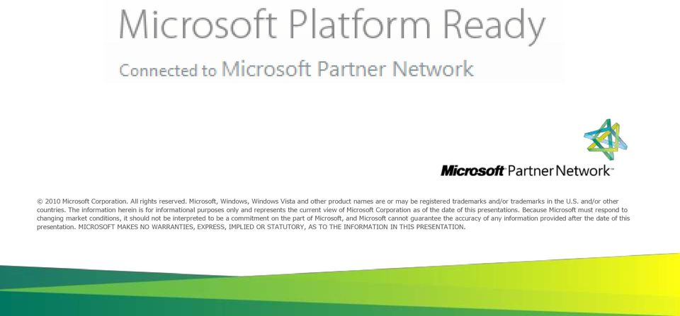 The information herein is for informational purposes only and represents the current view of Microsoft Corporation as of the date of this presentations.