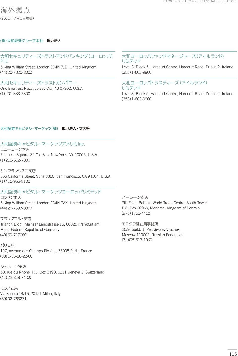 Financial Square, 32 Old Slip, New York, NY 10005, U.S.A. 1 212-612-7000 555 California Street, Suite 3360, San Francisco, CA 94104, U.S.A. 1 415-955-8100 5 King William Street, London EC4N 7AX, United Kingdom 44 20-7597-8000 Trianon Bldg.