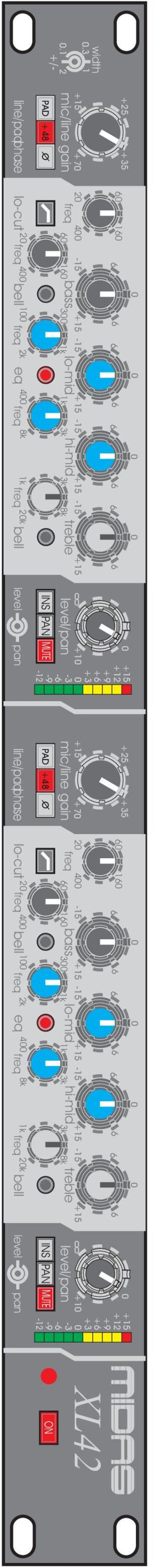 line/padphase lo-cut freq bell freq eq freq freq bell level pan PAD +48 O/ INS PAN MUTE +7 2 4 mic/line gain freq bass