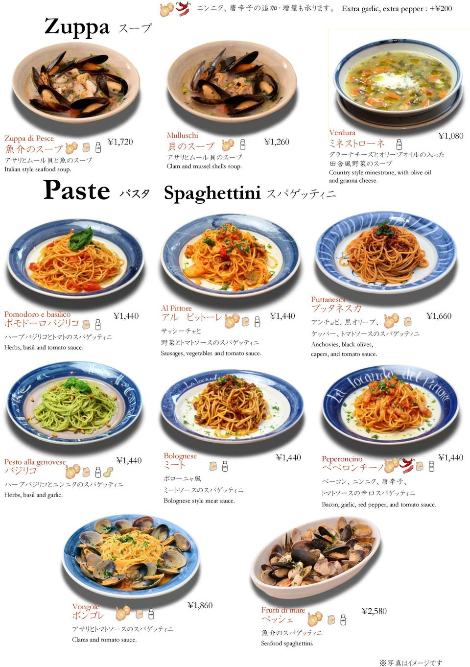 1,260 Spaghettini スパゲッティニ Verdura 1,080 ミネストローネ グラーナチーズとオリーブオイルの 入 った 田 舎 風 野 菜 のスープ Country style minestrone, with olive oil and granna cheese.