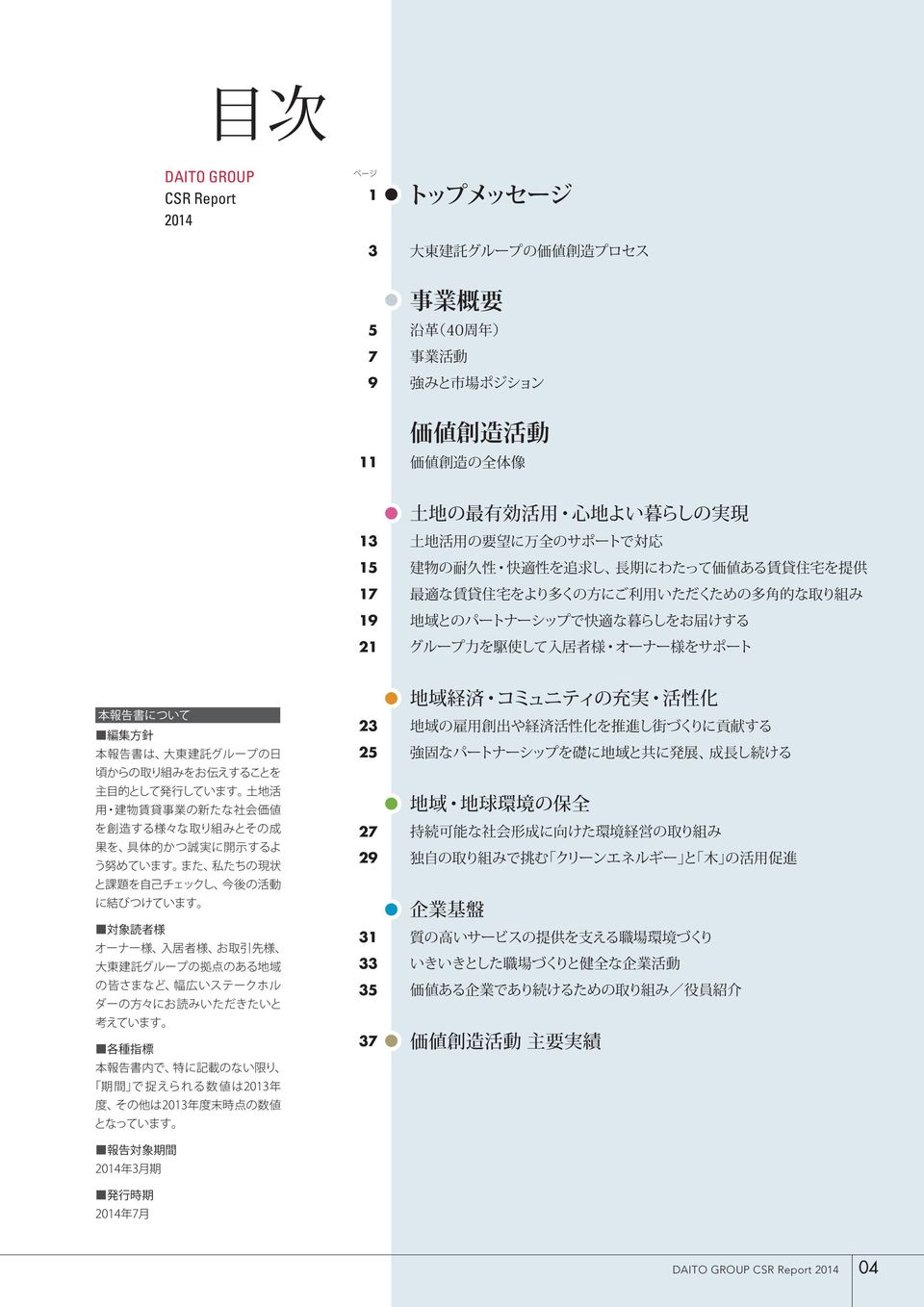 DAITO GROUP CSR Report 2014