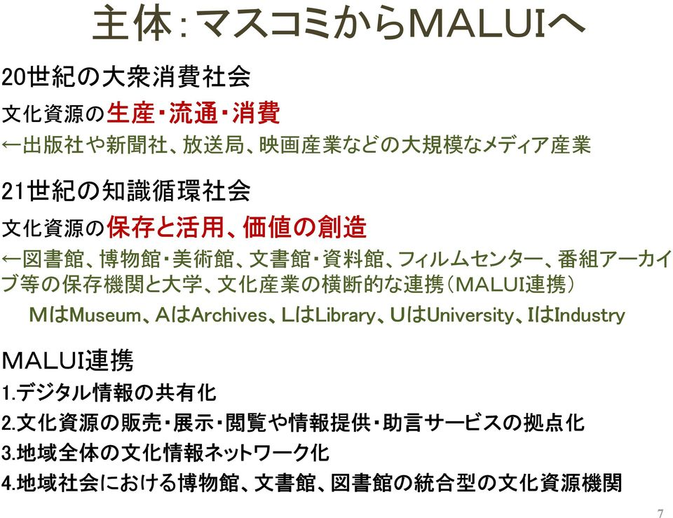 ) MはMuseum Museum A AはArchives Archives L LはLibrary Library U UはUniversity University I IはIndustry MALUI 連 携 1.