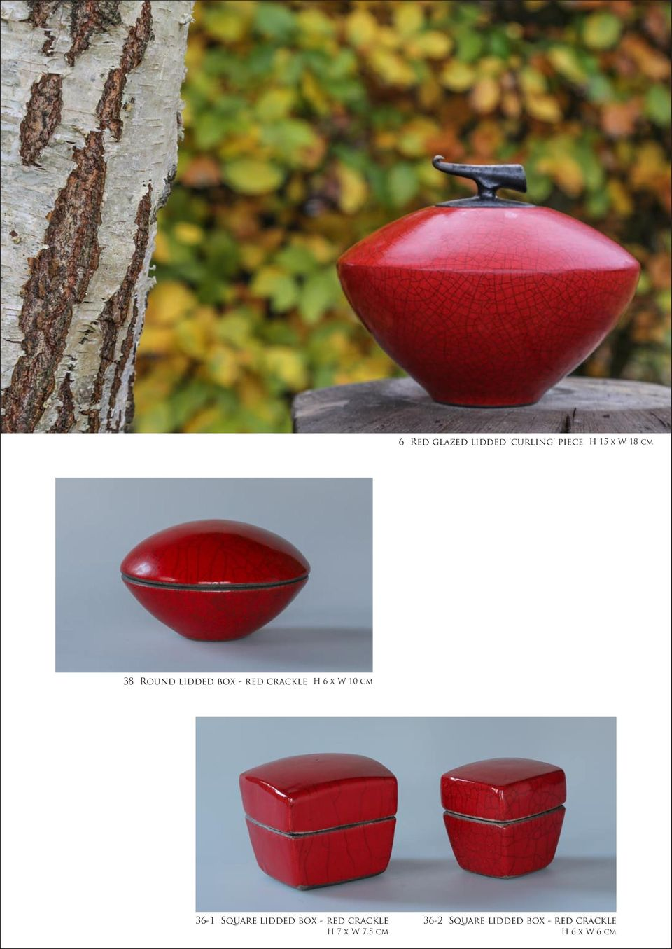 cm 36-1 Square lidded box - red crackle H 7 x W 7.