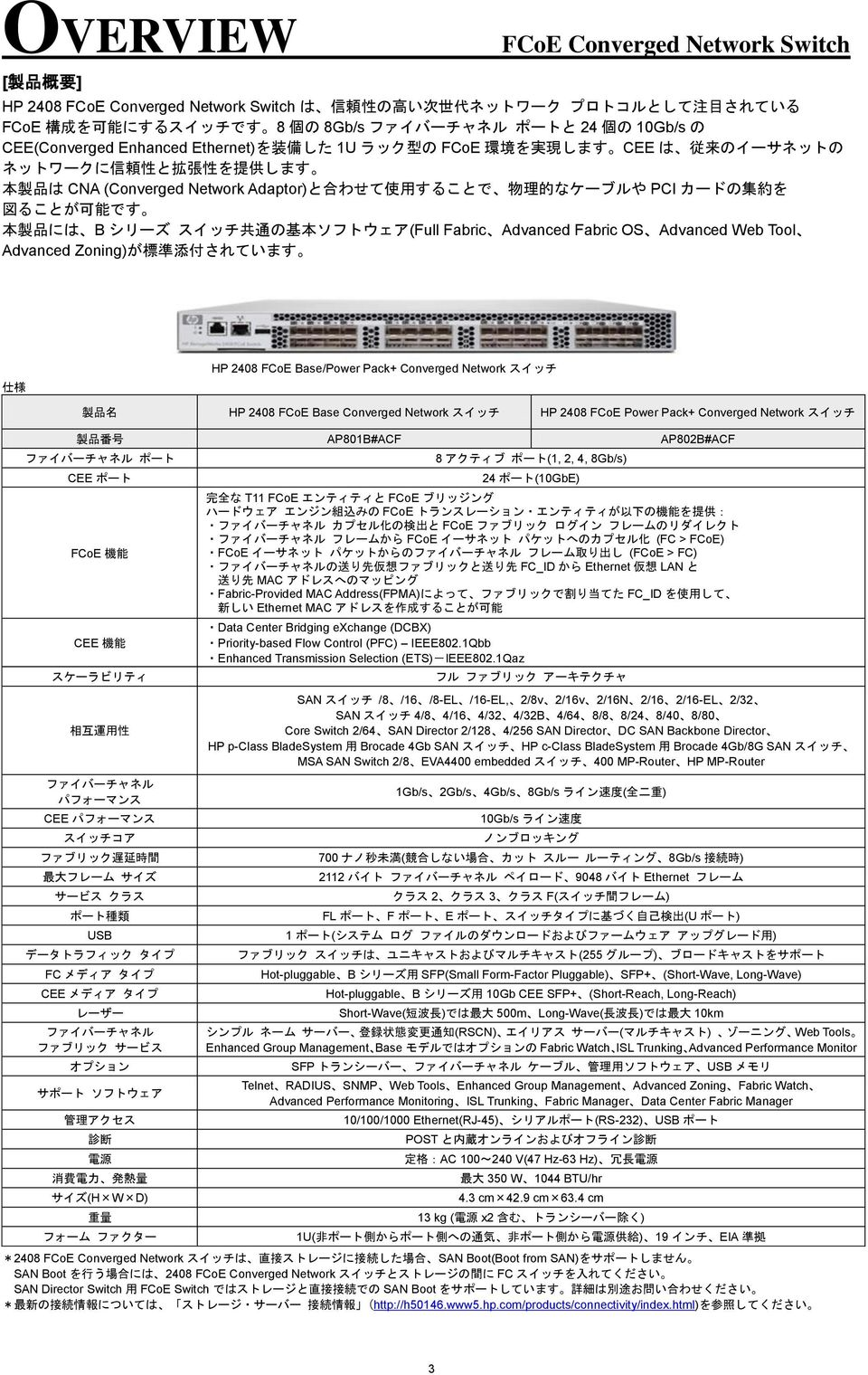 ソフトウェア(Full Fabric Advanced Fabric OS Advanced Web Tool Advanced Zoning)が 標 準 添 付 されています 仕 様 HP 2408 FCoE Base/Power Pack+ Converged Network スイッチ 製 品 名 HP 2408 FCoE Base Converged Network スイッチ HP