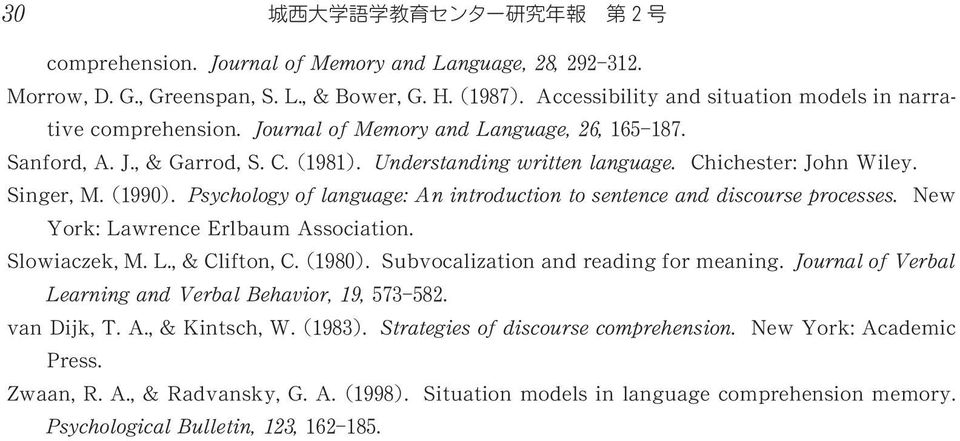 Psychology of language: An introduction to sentence and discourse processes. New York: Lawrence Erlbaum Association. Slowiaczek, M. L., & Clifton, C. 1980. Subvocalization and reading for meaning.