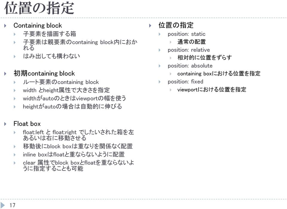relative 相 対 的 に 位 置 をずらす position: absolute containing boxにおける 位 置 を 指 定 position: fixed viewportにおける 位 置 を 指 定 Float box float:left と float:right