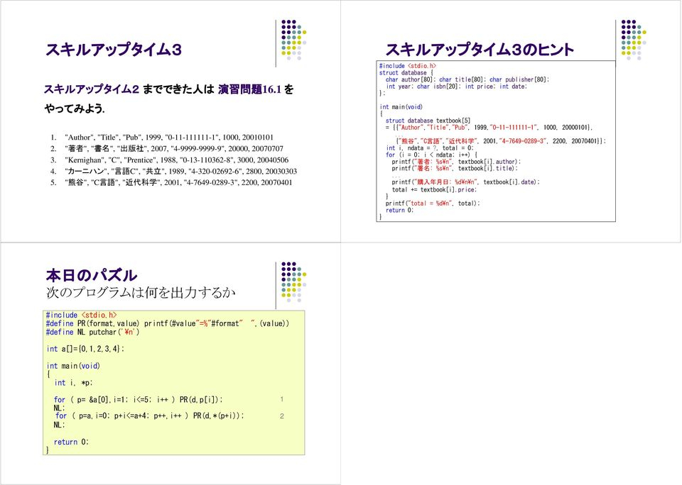 """ 熊谷 "", ""C 言語 "", "" 近代科学 "", 2001, ""4-7649-0289-3"", 2200, 20070401 スキルアップタイム 3 のヒント struct database char author[80]; char title[80]; char publisher[80]; int year; char isbn[20]; int price; int date; ;"