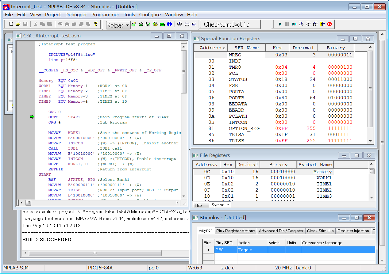 Debugger Select Tool MPLAB SIM Make View Special Function Registers View File Registers Stimulus
