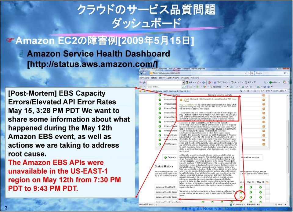 com/] [Post-Mortem] EBS Capacity Errors/Elevated API Error Rates May 15, 3:28 PM PDT We want to share some