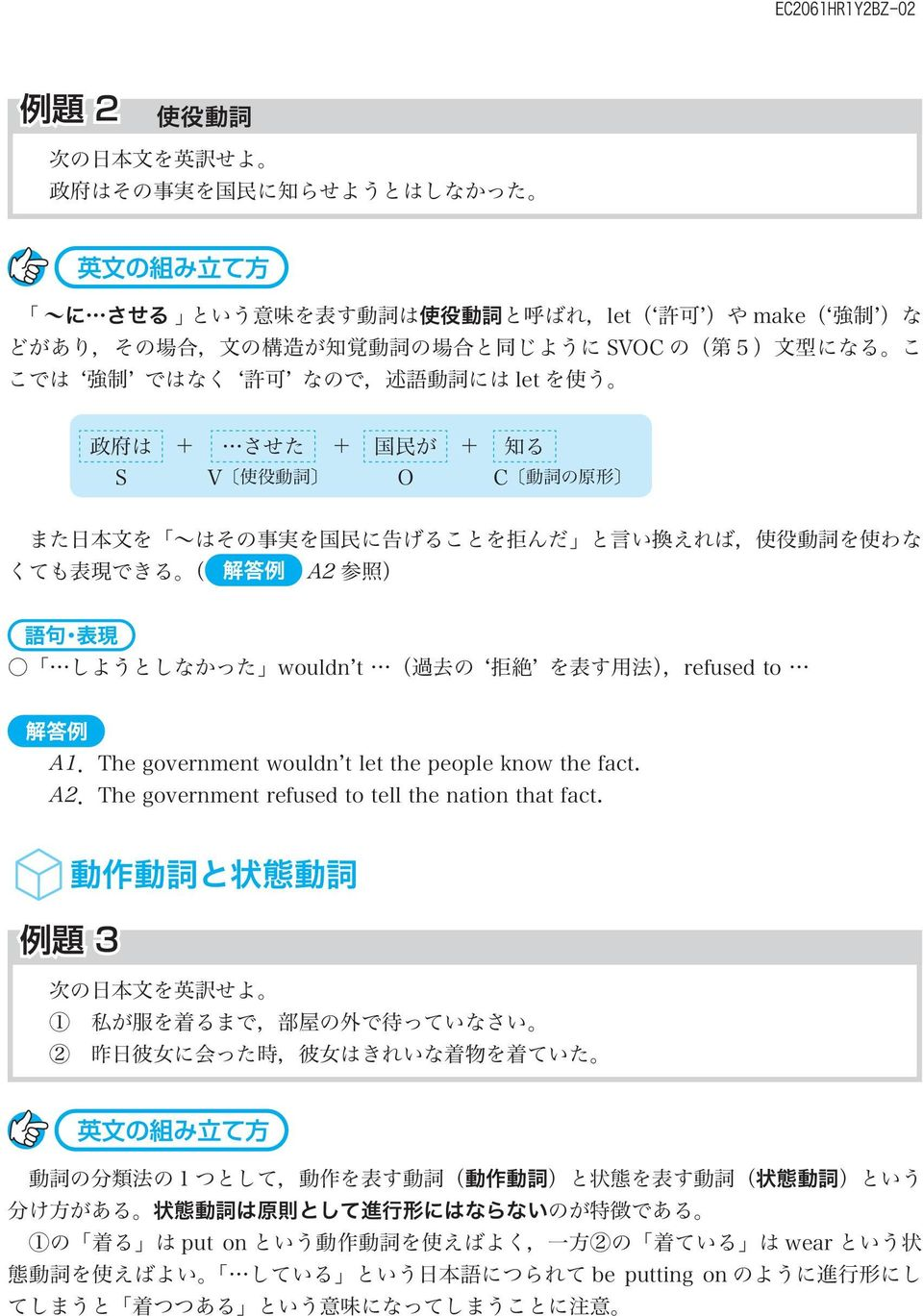 できる ( A2 参 照 ) しようとしなかった wouldn't ( 過 去 の ʻ 拒 絶 ' を 表 す 用 法 ),refused to A1.The government wouldn't let the people know the fact. A2.The government refused to tell the nation that fact.