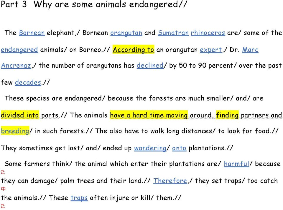 // These species are endangered/ because the forests are much smaller/ and/ are divided into parts.// The animals have a hard time moving around, finding partners and breeding/ in such forests.