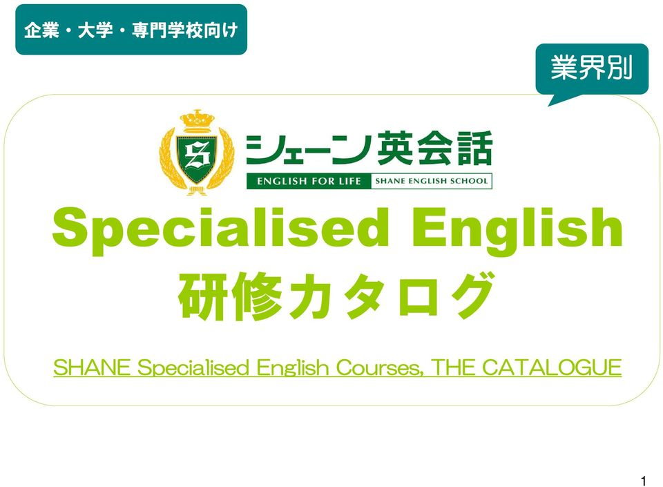 カタログ SHANE Specialised