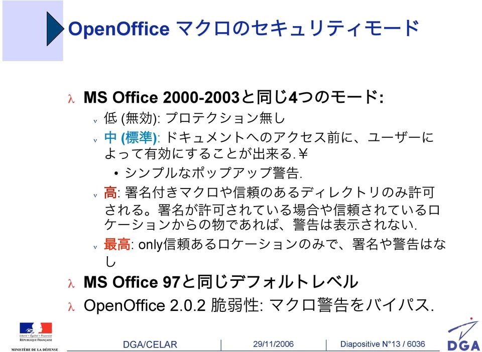: only MS Office 97 OpenOffice 2.