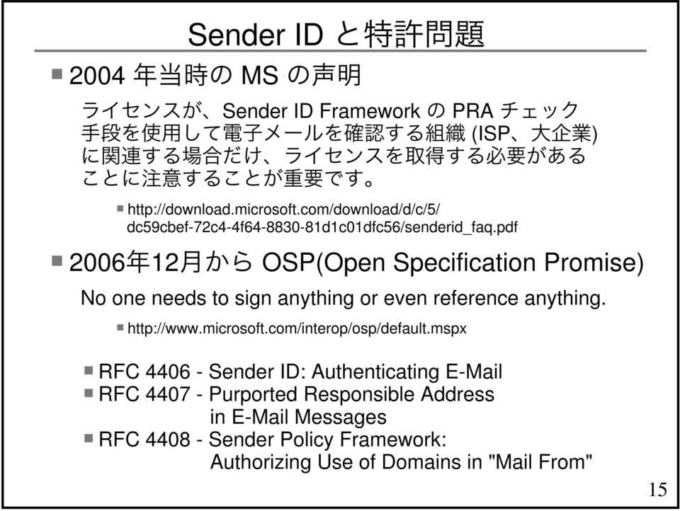 pdf 2006 12 OSP(Open Specification Promise) No one needs to sign anything or even reference anything. http://www.