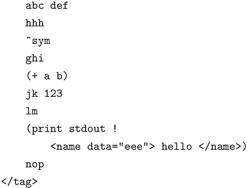 """jk"" 123 ""lm"" (print stdout ([name data=""eee""] ""hello"")) ""nop"" </tag> (tag ""abc"" "" """