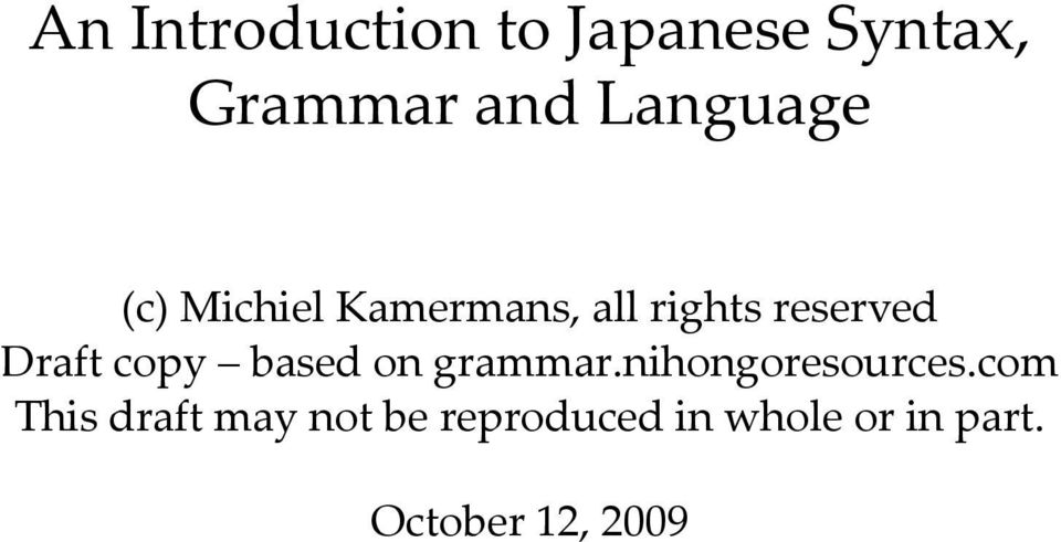 Draft copy based on grammar.nihongoresources.