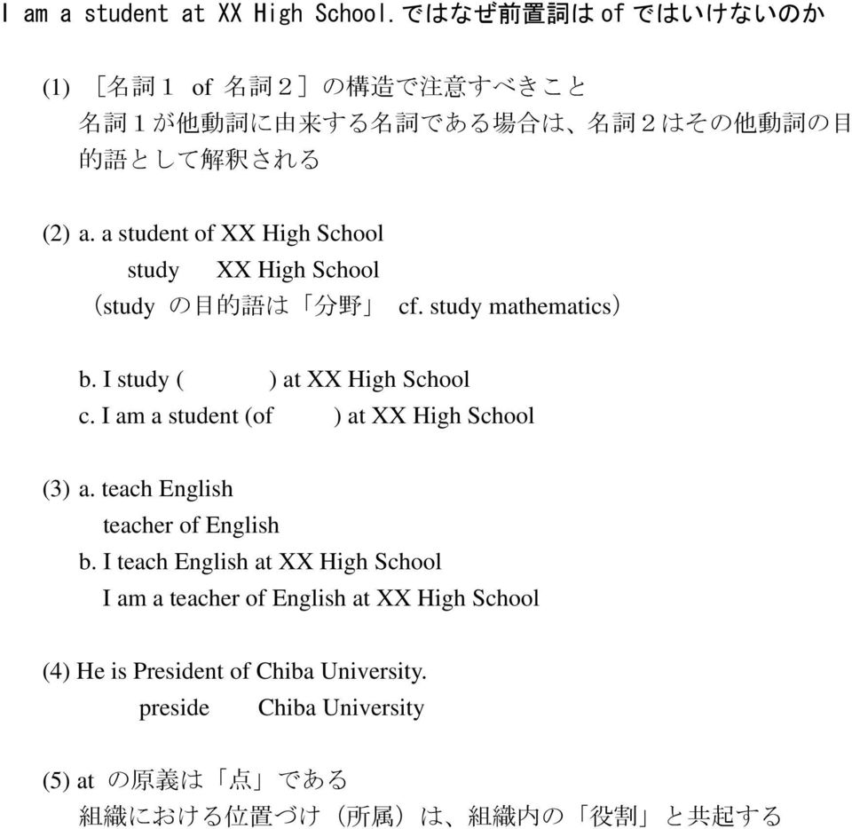 a student of XX High School study XX High School (study の 目 的 語 は 分 野 cf. study mathematics) b. I study ( ) at XX High School c.