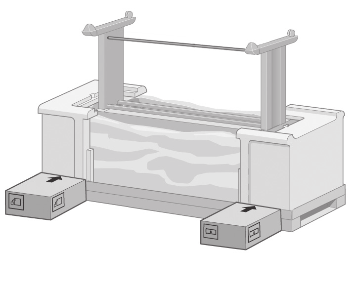 The arrows on the boxes must point towards the printer box. Make sure that the anti-slip material is attached to the two rear wheels.