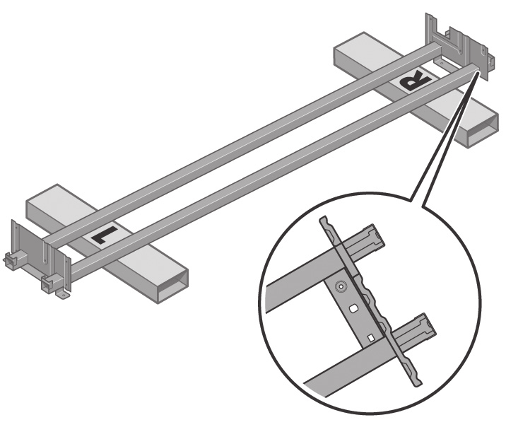 Lower the left side of the cross-brace onto the box marked L and the right side of the cross-brace onto the box marked R.