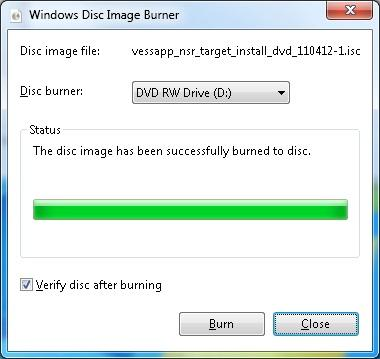 Creating NSR-500 DVD Installer Procedures (Windows 7) 3. Burning the DVD-R Set a blank DVD-R media to the drive, check Verify disc after burning, and then press Burn. 4.