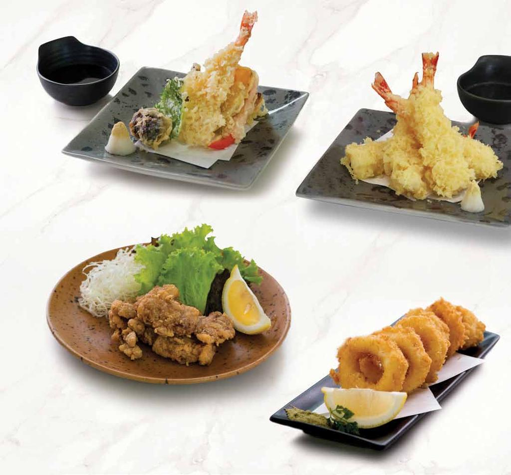 white fish served with tempura sauce 野菜天ぷら盛り合わせ YASAI TEMPURA 45,000 battered fried assorted seasonal vegetable served with tempura sauce てんぷら盛り合わせ TEMPURA MORIAWASE 48,000 battered