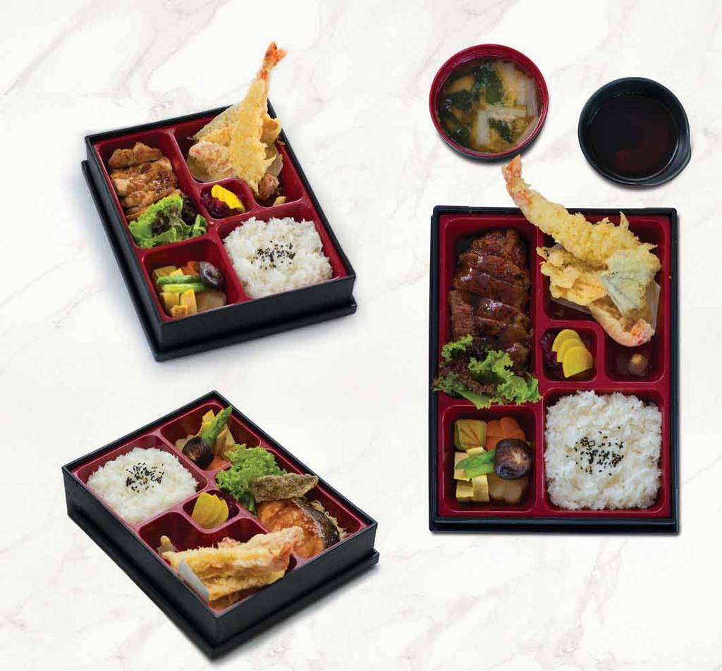 チキン照り焼き弁当 chicken teriyaki bento 110,000 お弁当 昼食のみ bento box (lunch only) チキン照り焼き弁当 CHICKEN TERIYAKI BENTO 110,000 with tempura, salad, dashimaki tamago, nimono, steamed rice and miso soup ビーフ照り焼き弁当