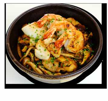 9 スパイシーシーフード丼 Spicy Seafood Don Sauteed tiger prawns,