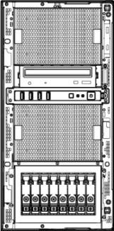 OVERVIEW PE ProLiant ML350p Gen8 ストレージベイ 標準時 オプションのドライブケージ 1 基搭載時 2 基搭載時 A A C B A 9 10 11 12 13 14 15 16 17 18 19 20 21 22 23 24 A 9 10 11 12 13 14 15 16 B C 17~24 9~16 ドライブケージ ( オプション ) SCSI DAT