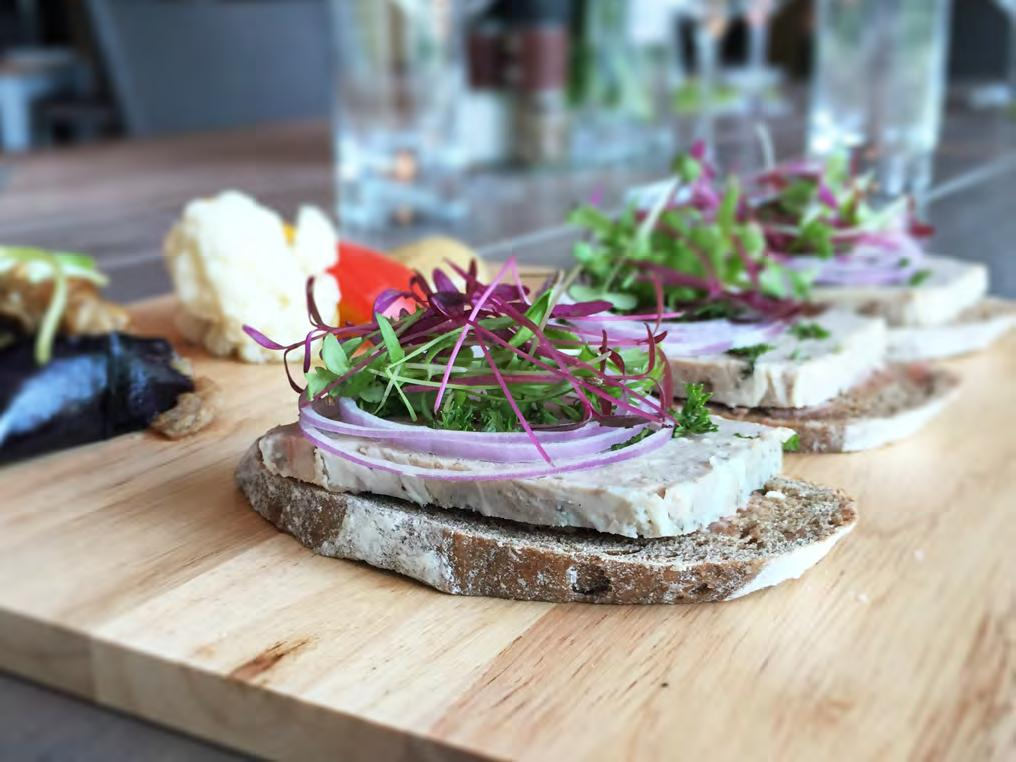 CHEF S PÂTÉ DE CAMPAGNE Home-made country style pork and duck pâté on dark rye sourdough bread served with marinated eggplant and porcini