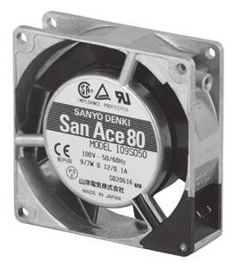 8.5 AC Fan 8mm sq. General Specifications 71.5.3 71.5.3 78 8.5 71.5.3 Rotating Direction 71.5.3 San Ace 8 3-4.