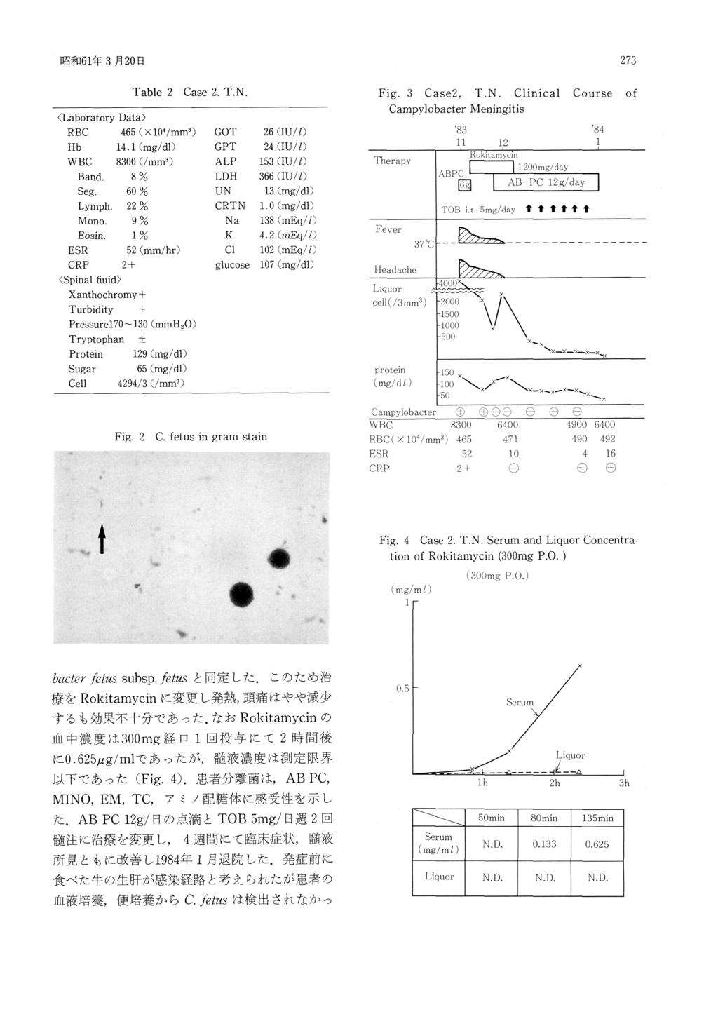 273 昭 和61年3月20日 Table 2 Case 2.T.N. Fig.3 Case2,T.N.Clinical Campylobacter Fig.2 C.fetus in gram Course of Meningitis stain Fig.4 Case 2.T.N.Serum and Liquor Concentration of Rokitamycin(300mg P.O.