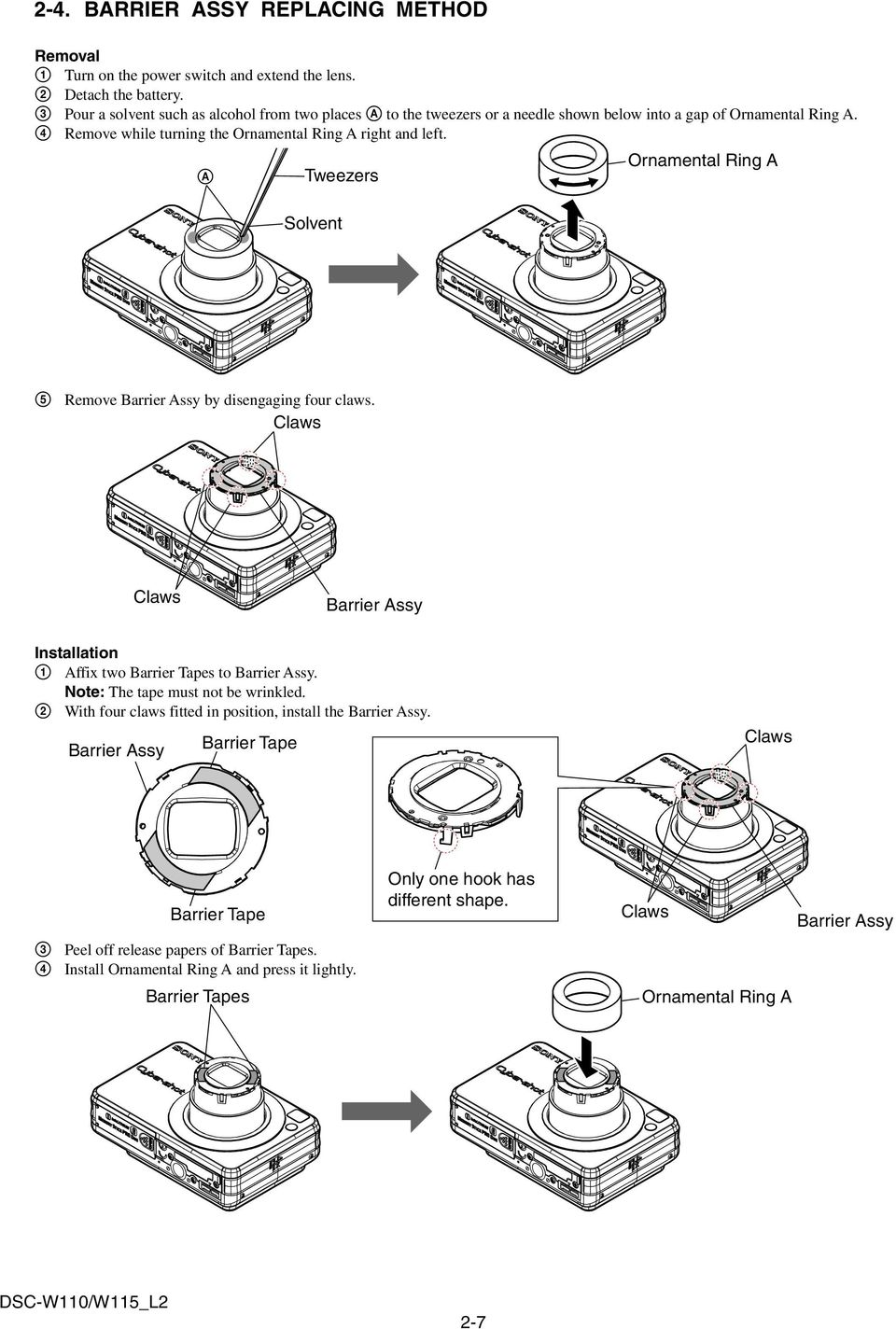Dsc W110 W115 Pdf Wiring Diagram A Tweezers Solvent Ornamental Ring 5 Remove Barrier Assy By Disengaging Four Claws