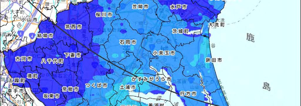Ibaraki prefecture) Legend Air dose rates at the height of 1m above the ground surface