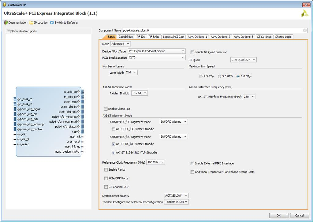 UltraScale+ Devices Integrated Block for PCI Express v1 1